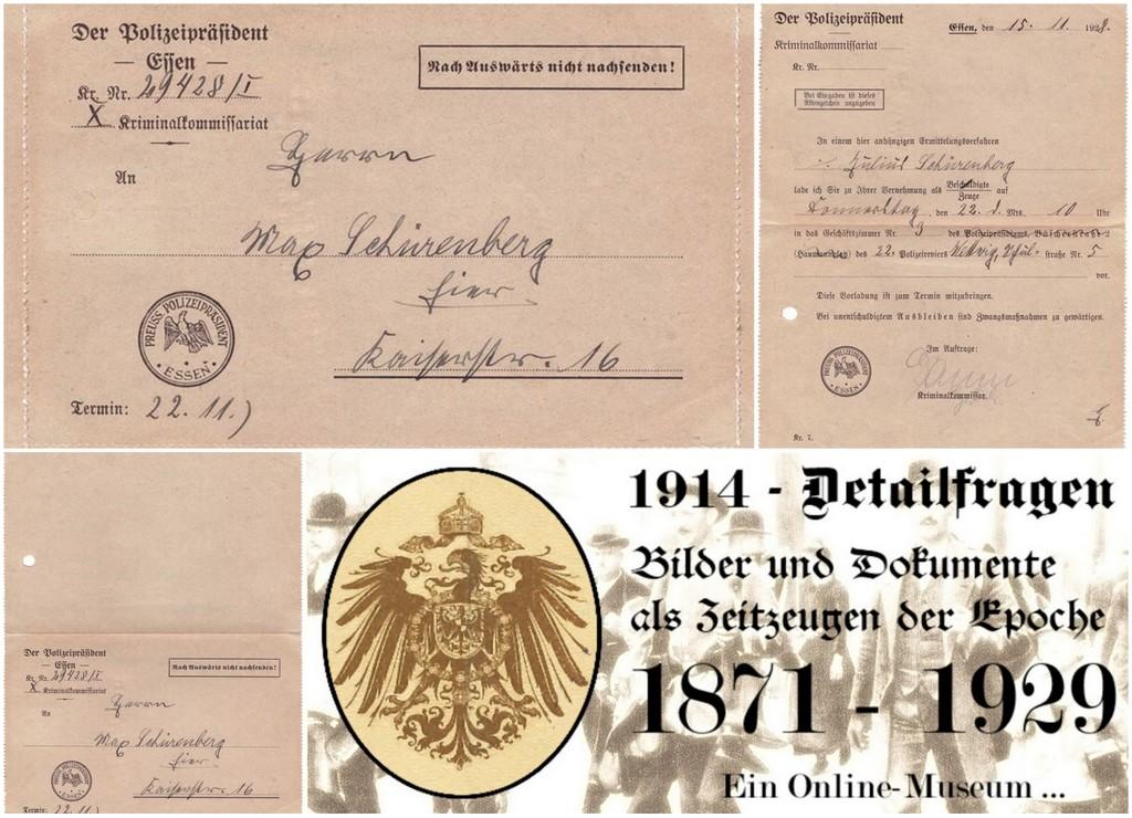 Vorladung zur Polizei in der Weimarer Republik 1928
