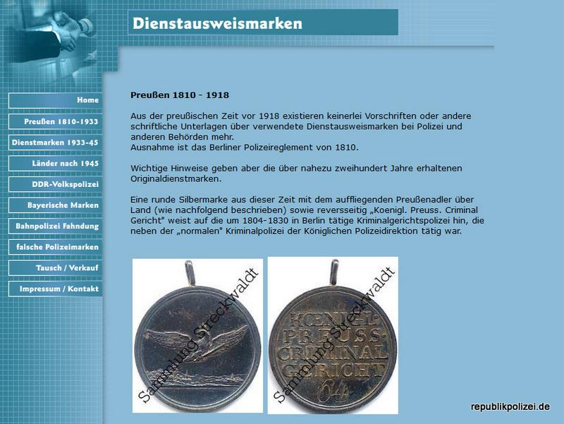 Homepagehinweis: Sammlung Dienstausweismarken