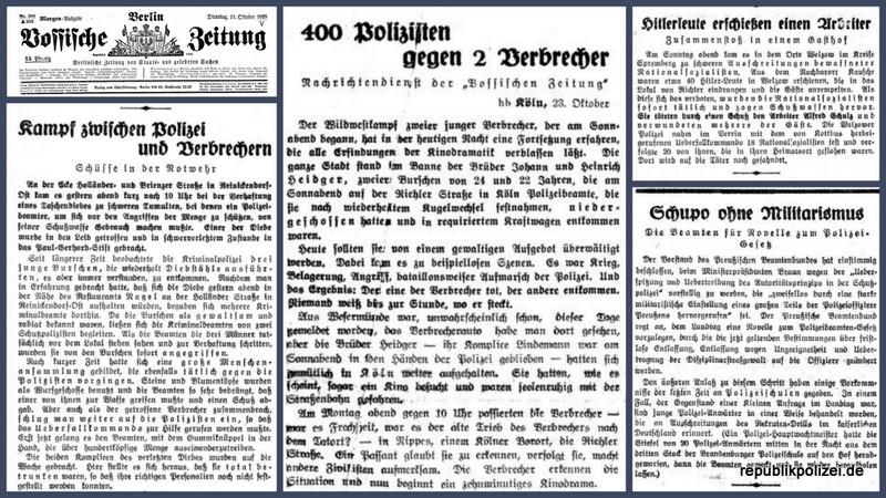 Polizeimeldungen am 23.10.1928 u.a. Einsatz gegen Militarismus in der Schupo und vielfältige Angriffe gegen Polizeibeamte