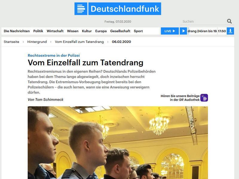 Hörtipp: Deutschlandfunk u.a. mit Dr. Dirk Götting und Polizeipräsident Johann Kühme
