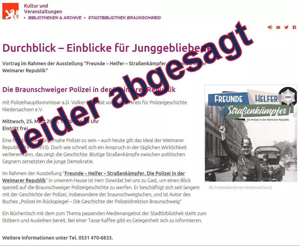 """Veranstaltungshinweis / Begleitvortrag:  """"Die Braunschweiger Polizei in der Weimarer Republik"""""""