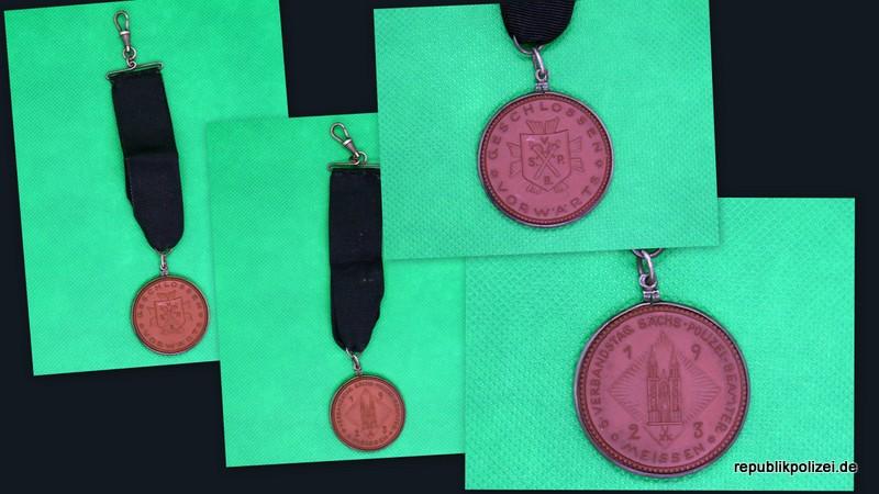 Porzellan Medaille 5. Verbandstag sächs. Polizei-Beamter Meissen 1923