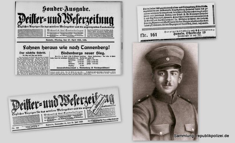 DEWEZET (Hameln) Zeitungsmeldungen zum Todesfall des Reichsbannermann Erich Schulz, Berlin, 26.04.1925