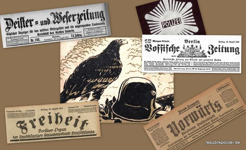 Die Entlassung rechtsgerichteter Braunschweiger Schutzpolizisten. Zeitungsmeldungen vom August 1921