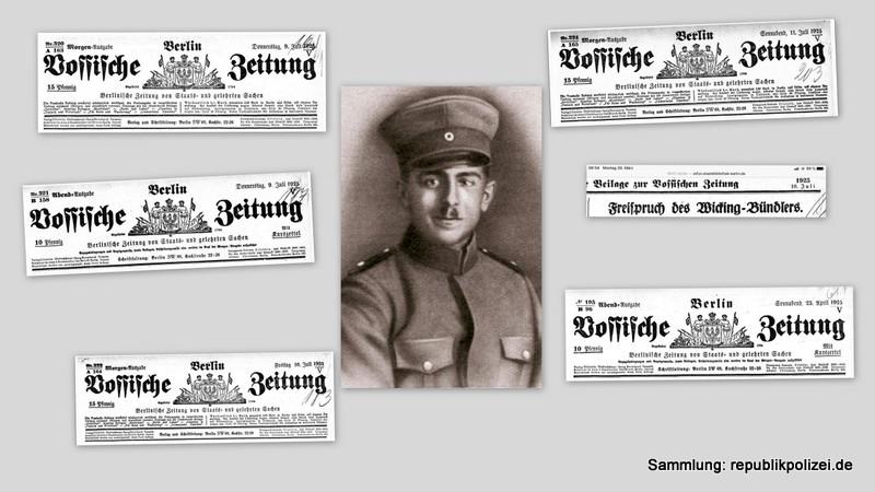 Vossische Zeitung Zeitungsmeldung zum Todesfall des Reichsbannermann Erich Schulz, Berlin, 26.04.1925