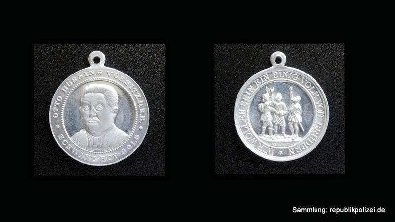 Alu-Medaille: Otto Hörsing – Reichsbanner Schwarz-Rot-Gold