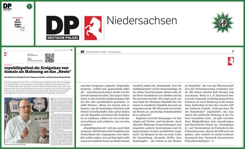 Bericht über diese Webseite in der DP (Deutsche Polizei), Mitgliedermagazin der Gewerkschaft der Polizei (GdP)
