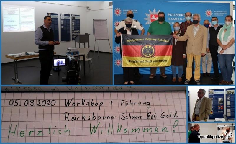 Tagesbericht 05.09.2020: #fhstraßenkämpferhm – Workshop und Führung: Reichsbanner Schwarz-Rot-Gold