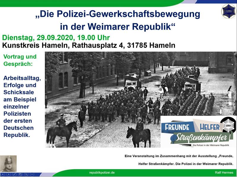 """Einladung zum Vortrag im Kunstkreis Hameln: """"Die Polizei-Gewerkschaftsbewegung in der Weimarer Republik"""""""