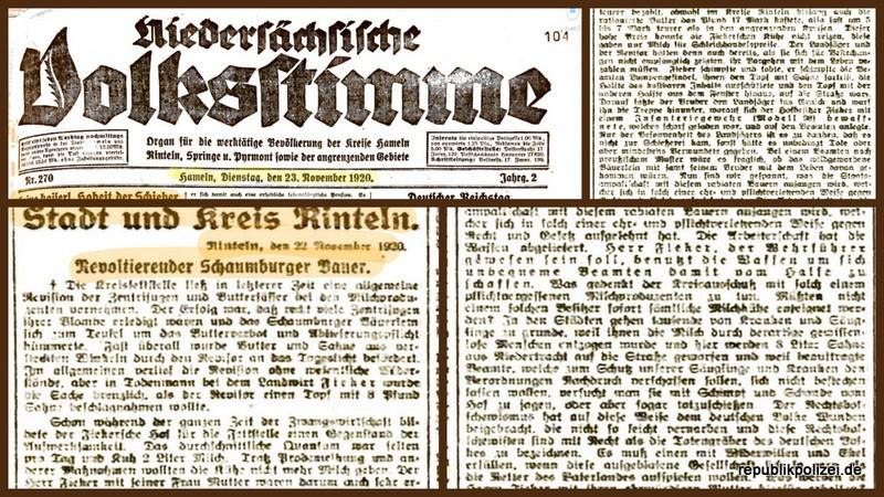 """Polizeisachverhalt vor 100 Jahren: Der """"Revoltierende Schaumburger Bauer"""""""