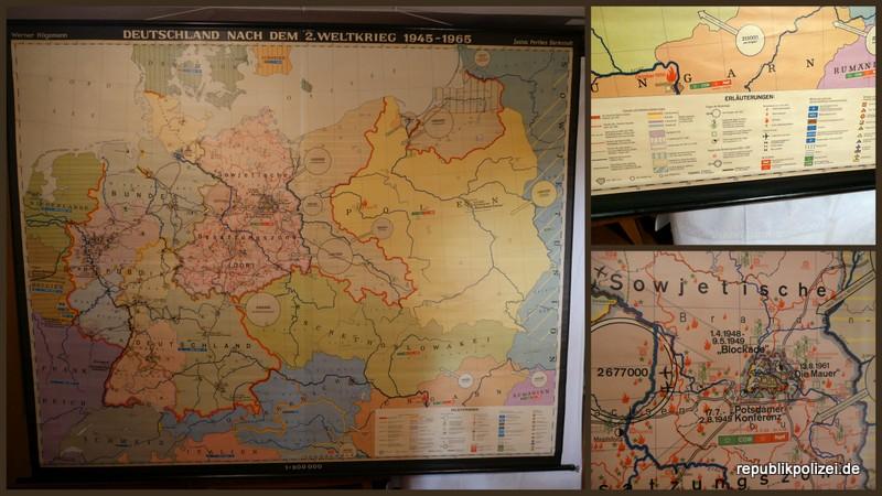 """Schulwandkarte (3): """"Deutschland nach dem 2. Weltkrieg 1945 – 1965″"""
