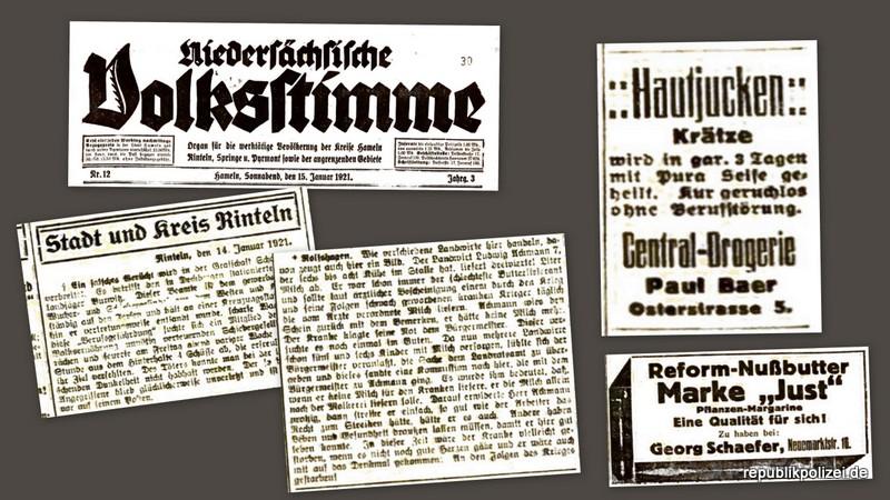 Vor 100 Jahren: Mordversuch an einem Hilfslandjäger in Deckbergen. Bericht der Nds. Volksstimme aus Hameln