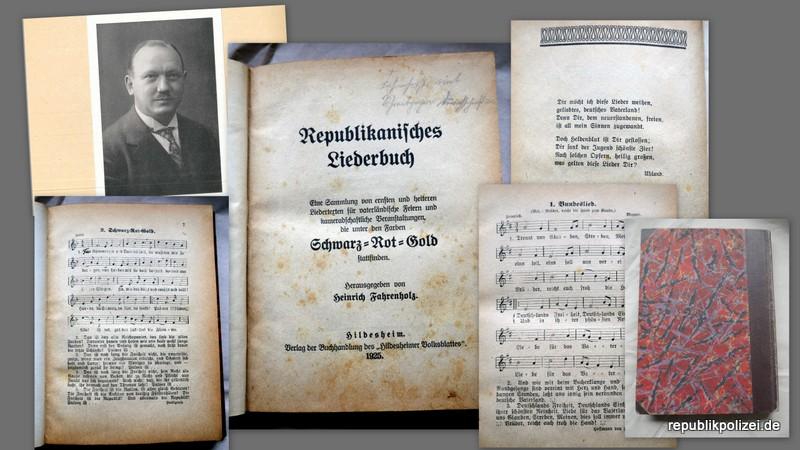 1925: Republikanisches Liederbuch – Informationen auch zum Herausgeber Heinrich Fahrenholz