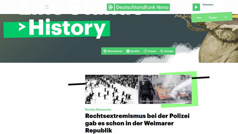 Hörtipp: Deutschlandfunk Nova – History – Rechtsextremismus bei der Polizei gab es schon in der Weimarer Republik