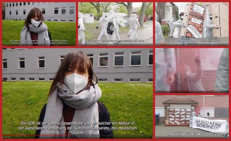 Aktuelles Zeitgeschehen: Antifa L Hannover gegen GdP Niedersachsen. Aktionsvideo Mai 2021