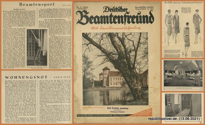 """Zeitschrift: """"Deutscher Beamtenfreund"""" Nr. 1 – 1929"""
