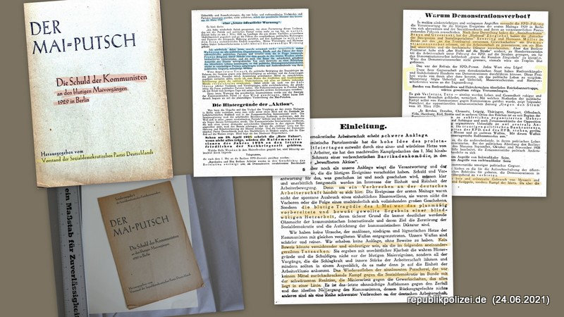 1929 – Sonderausgabe 1 der SPD: Der Mai-Putsch. Die Schuld der Kommunisten an den blutigen Maivorgängen in Berlin
