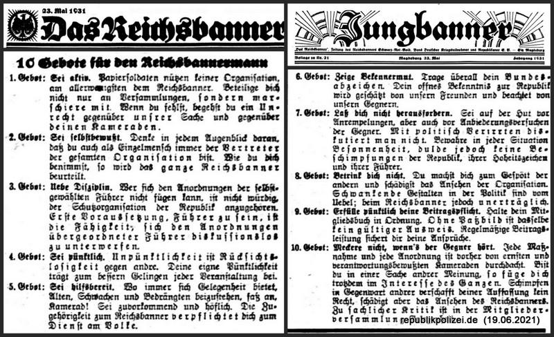 10 Gebote für den Reichsbannermann – Mai 1931