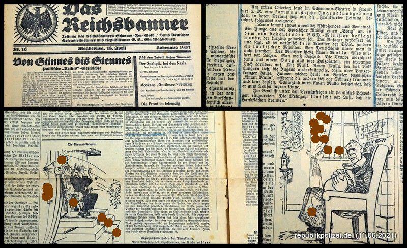 """Zeitung: """"Das Reichsbanner"""" vom 18.04.1931"""