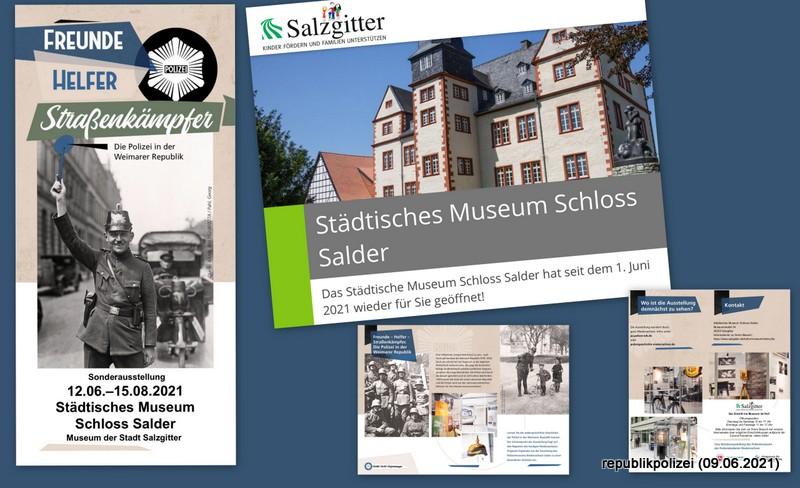 """Museum Schloß Salder in Salzgitter zeigt: """"Freunde, Helfer, Straßenkämpfer"""" Ausstellung zur Geschichte der Polizei in der Weimarer Republik."""