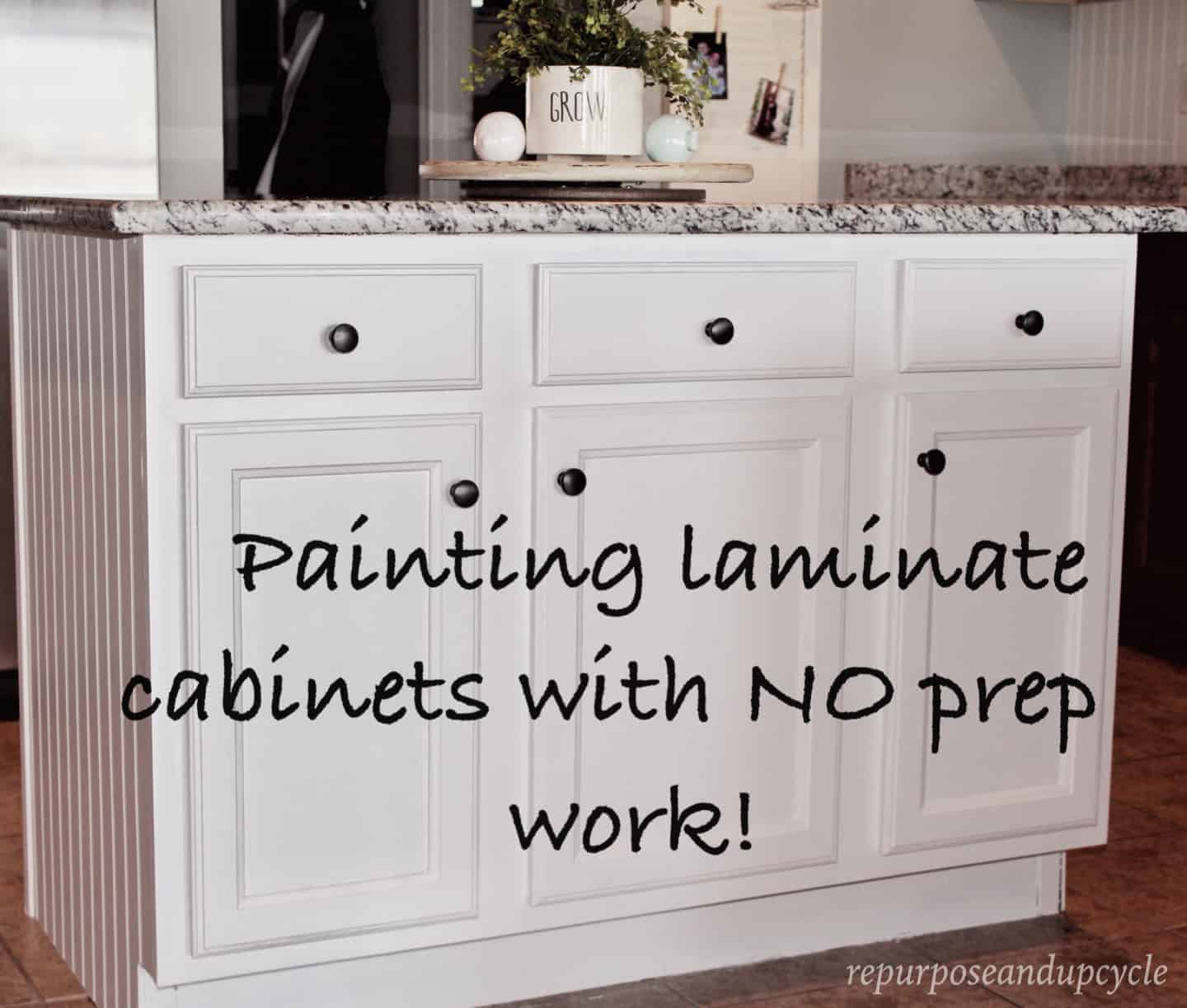 Painting Laminate Cabinets with NO prep work!