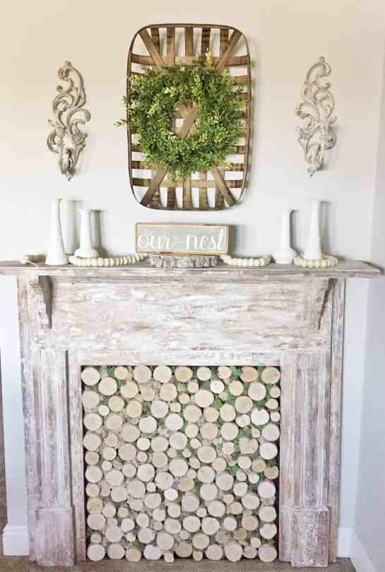 Creating an antique faux fireplace mantel