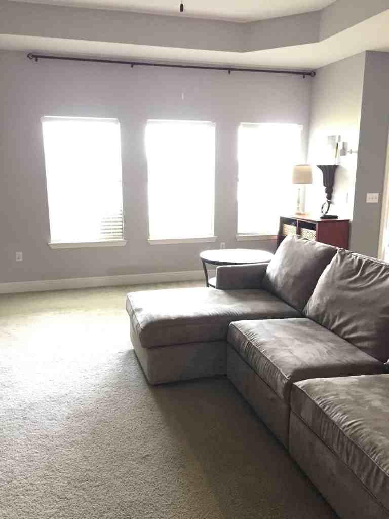 Modern Farmhouse Living Room Refresh with DIY drop cloth ... on Curtains For Farmhouse Living Room  id=87953