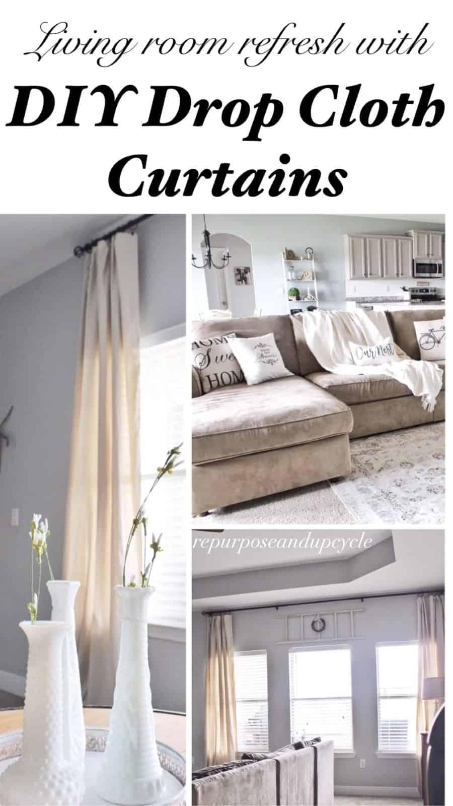 Modern Farmhouse Living Room Refresh with DIY drop cloth ... on Farmhouse Curtain Ideas For Living Room  id=34017