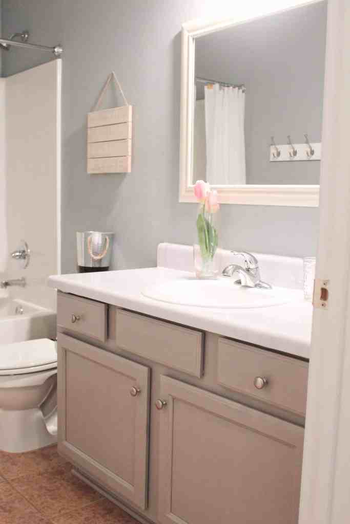 Bathroom update for under 100 including diy faux marble - Faux marble bathroom countertops ...