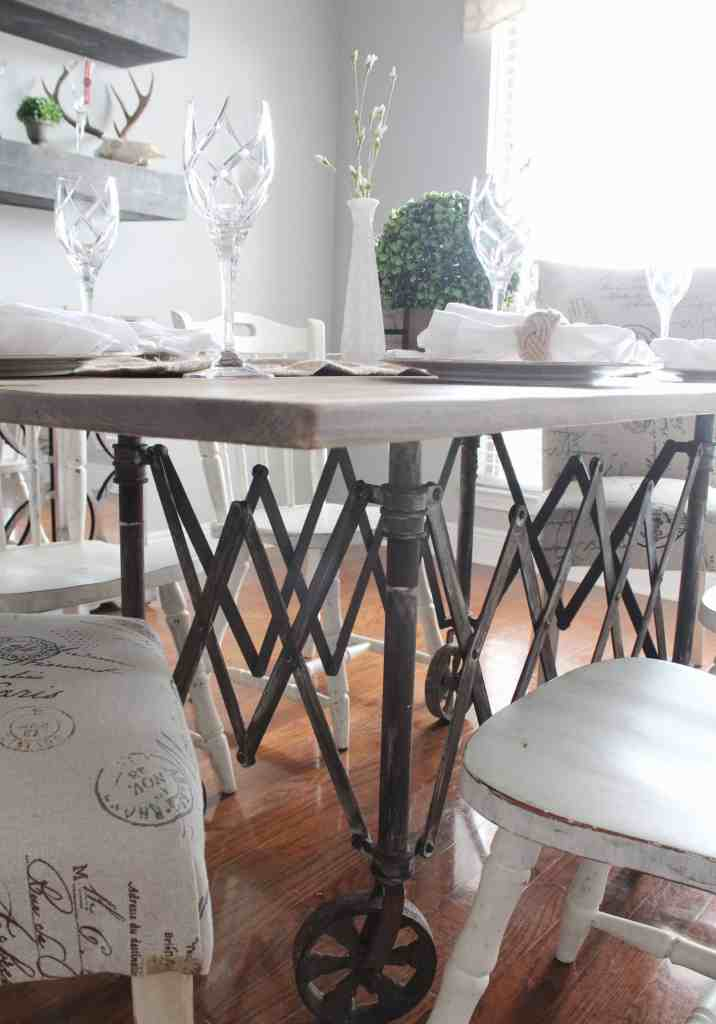 Vintage casket carrier repurposed to a dining room table for Repurposed dining table