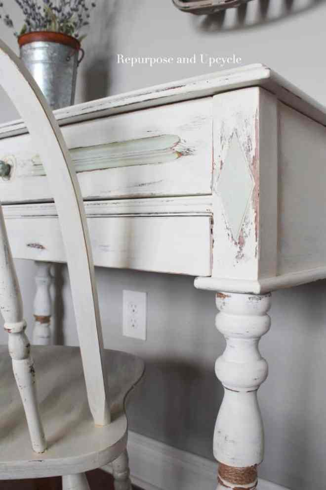 After a little more touching up and distressing, this antique coastal dresser makeover was almost done!