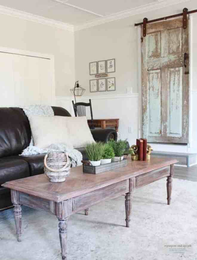 Lime Washed Coffee Table Makeover with Liming Wax