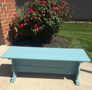 Azurite Blue Painted Bench