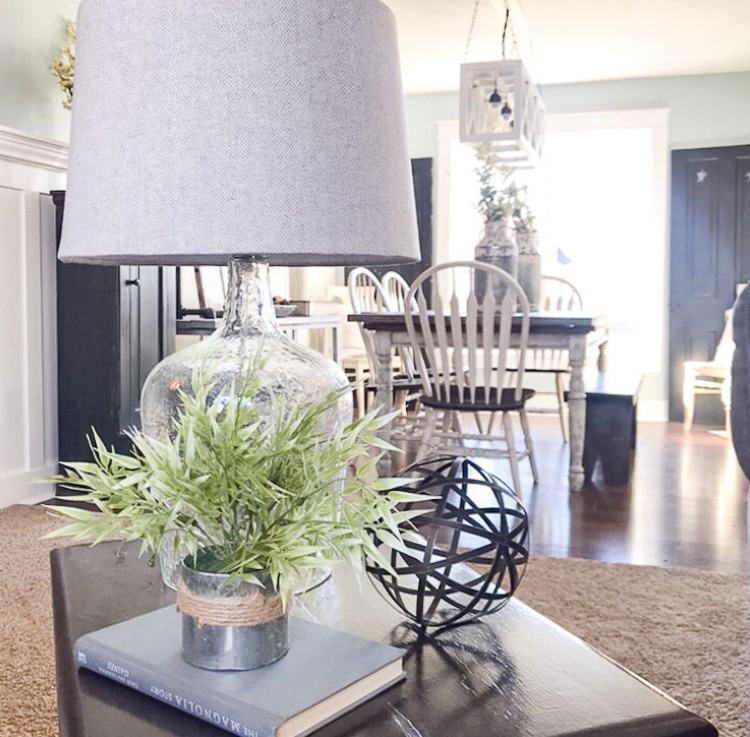 Succulent on an end table with a lamp