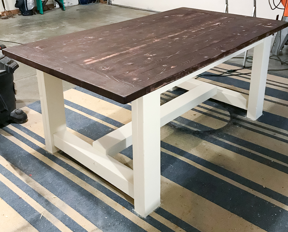 farmhouse table brown and white