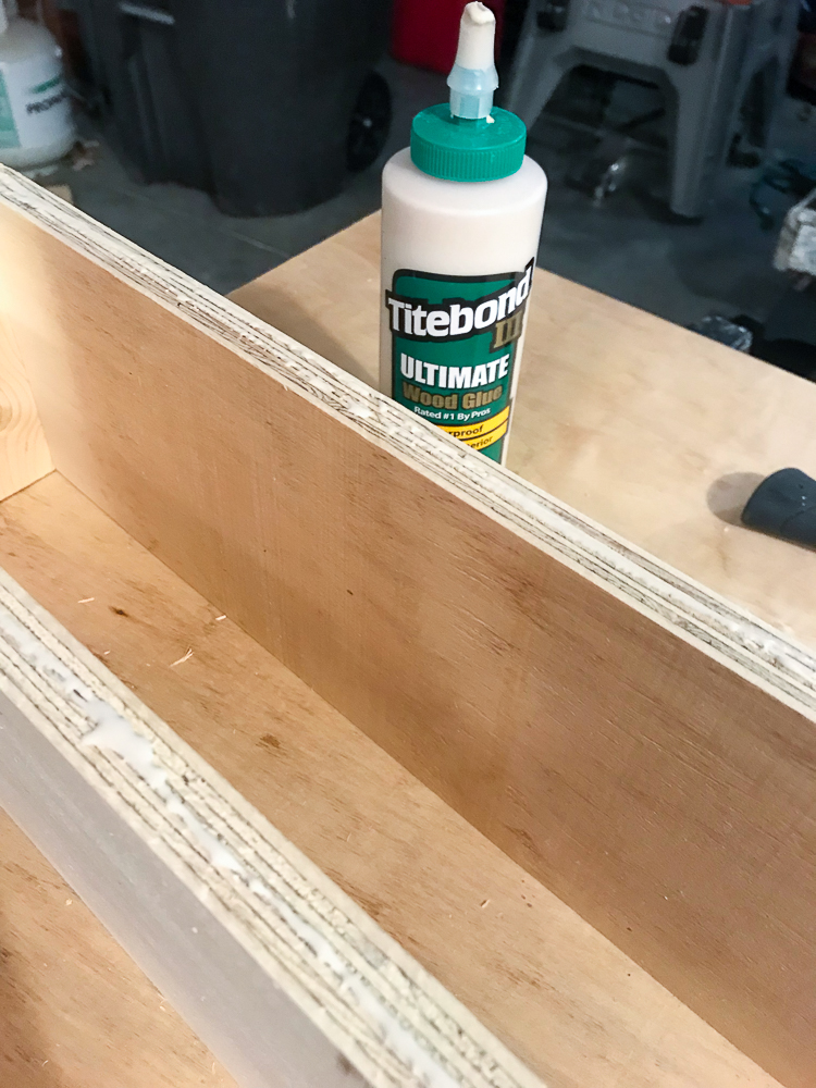 wooden box with glue bottle