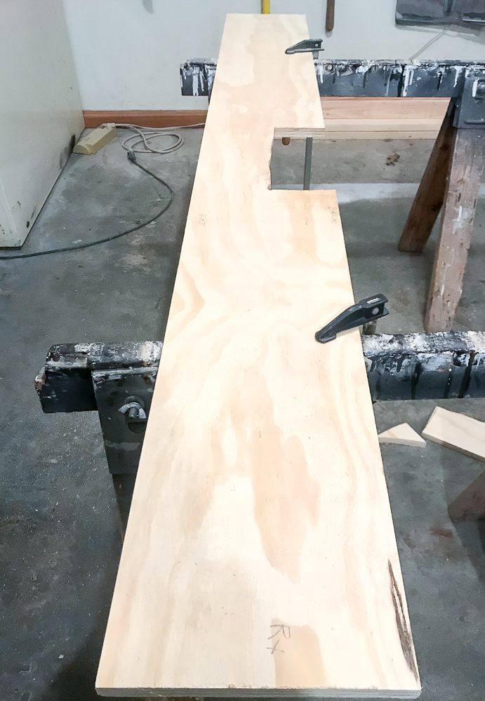 Plywood for faux wood beam mantel