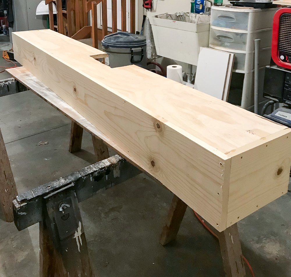front added to faux beam