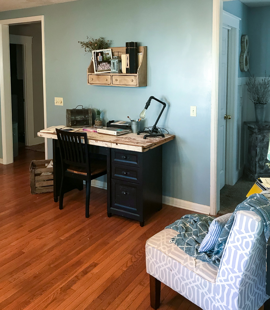 kitchen nook area with a desk and chair