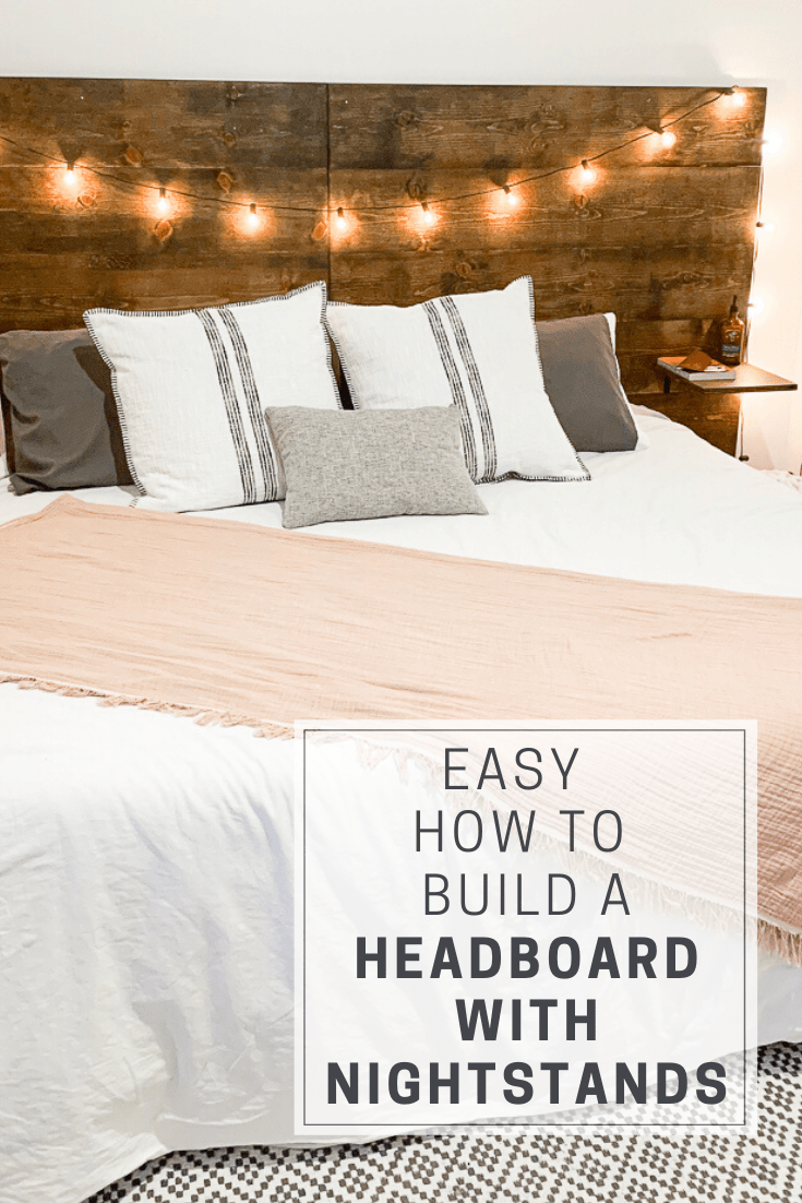 Pinterest Pin of king bed with wooden headboard