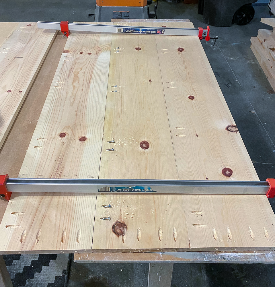 pineboards clamped together ready for screws