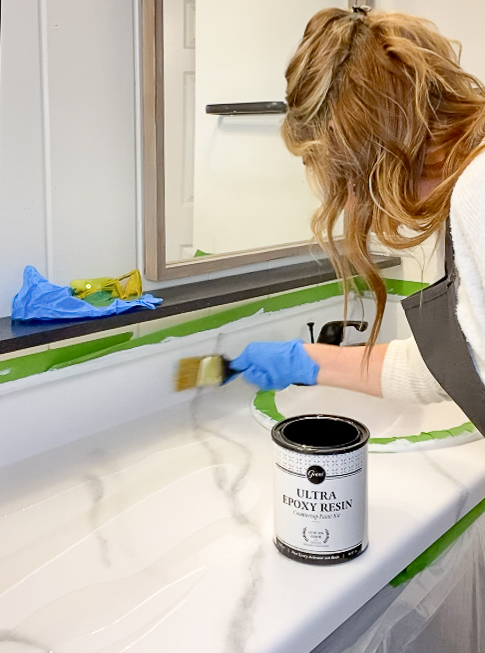 Epoxy added to marble countertops