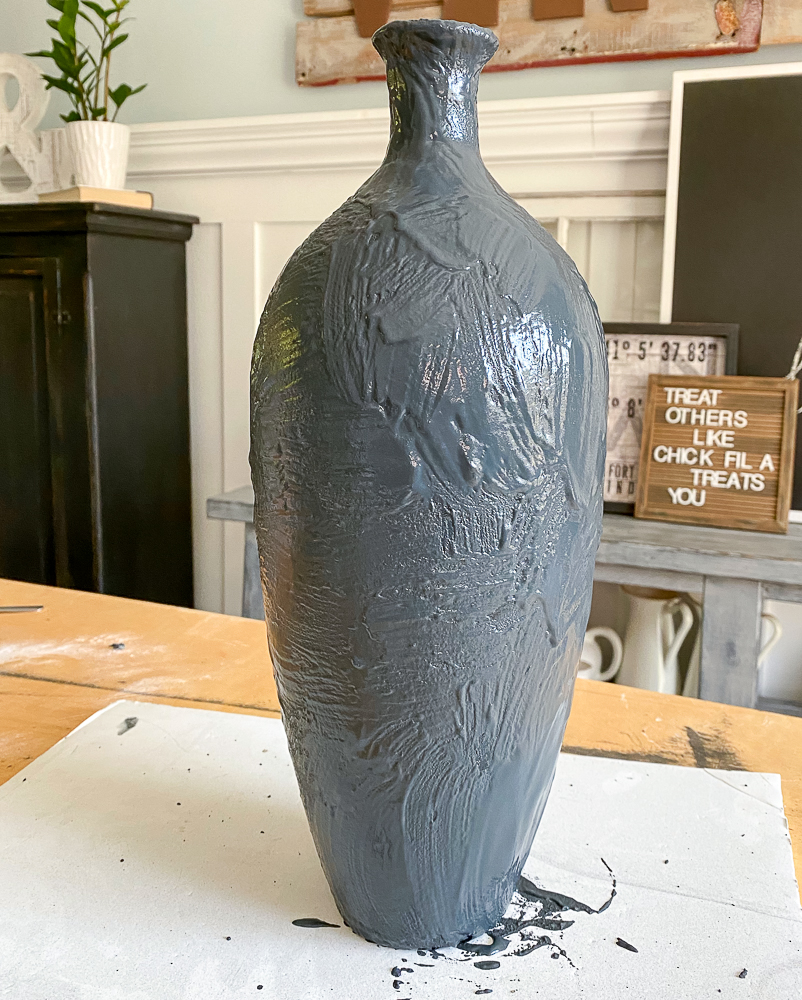 Painted vase black with texture