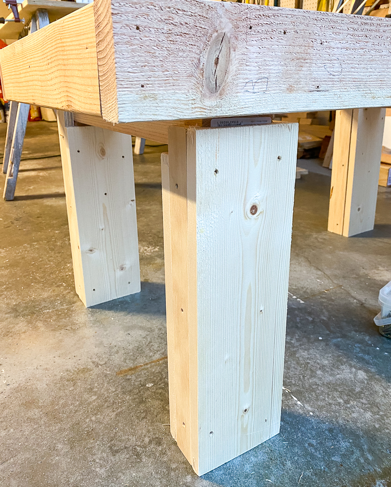 Legs to a furniture piece made of pinewood
