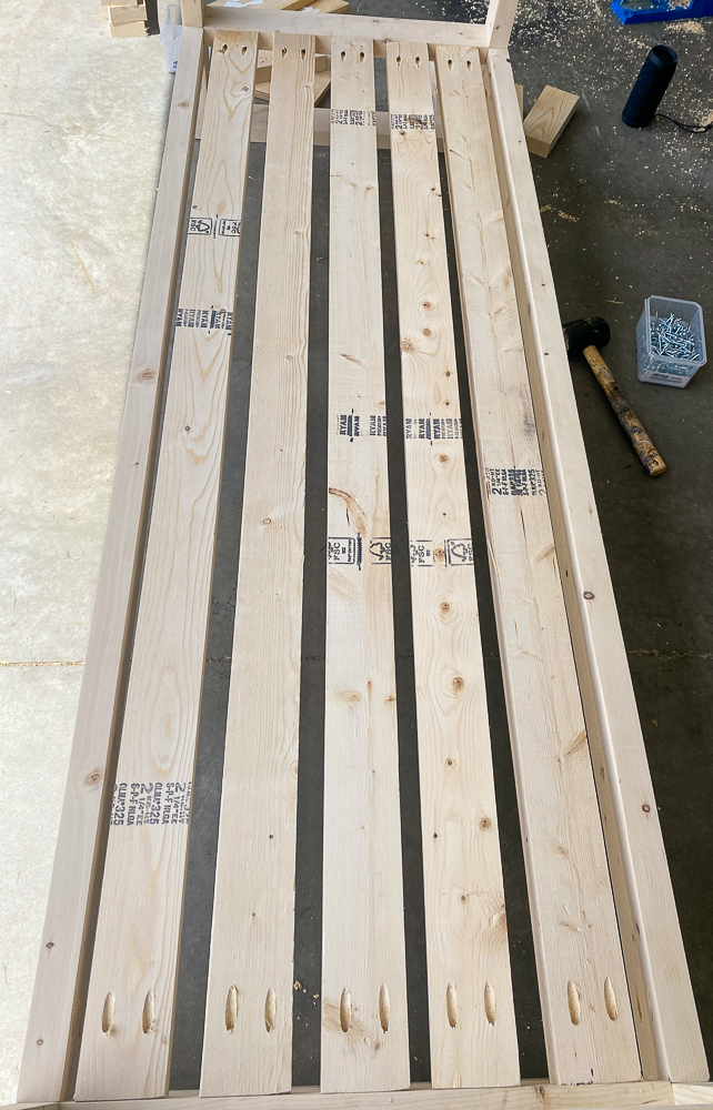 2x4's attached for seat of outdoor sofa
