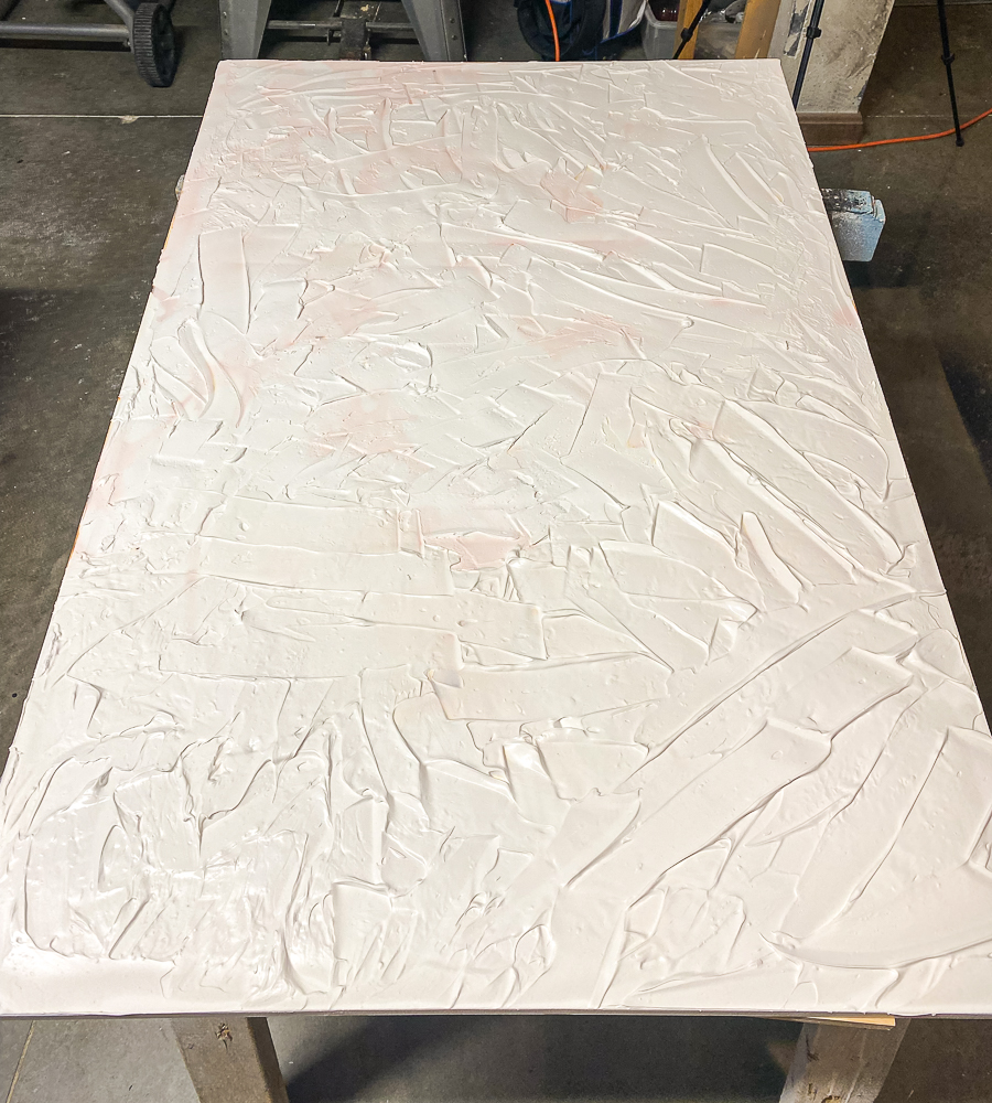 Spackling on a board with lots of texture