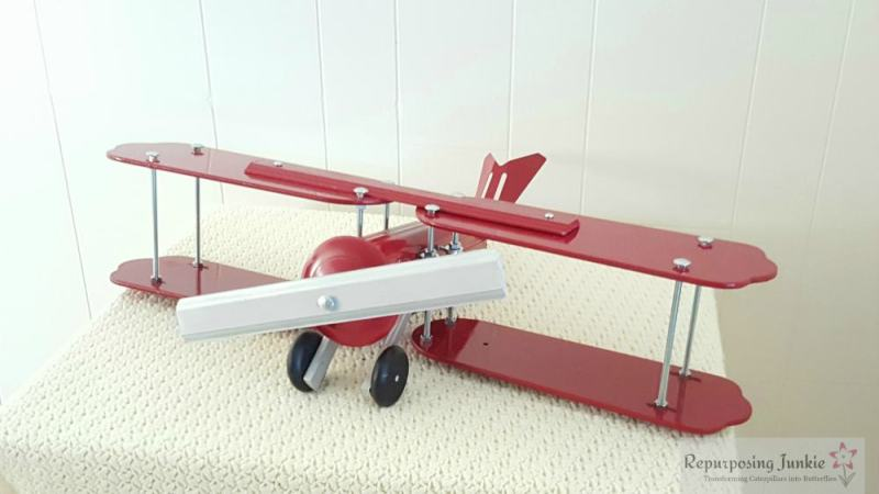 Repurposed Ceiling Fan Blades into a Red Airplane