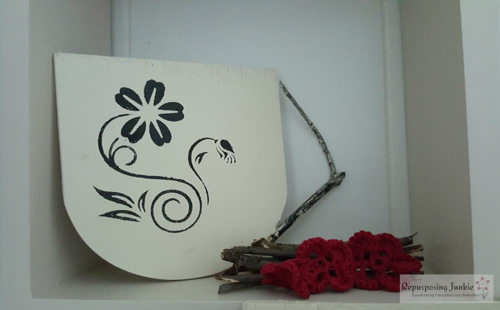 Repurposed Ceiling Fan Blades into White and Black Coffee Cup Stenciled Coffee and flower, spring handle, stick handle