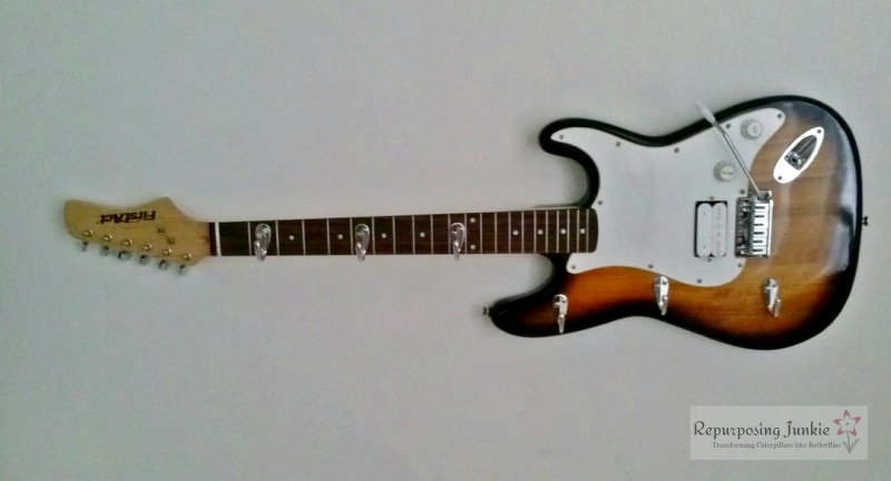 Repurposed Electric Guitar into Coat Garment Hat Rack Holder (9)