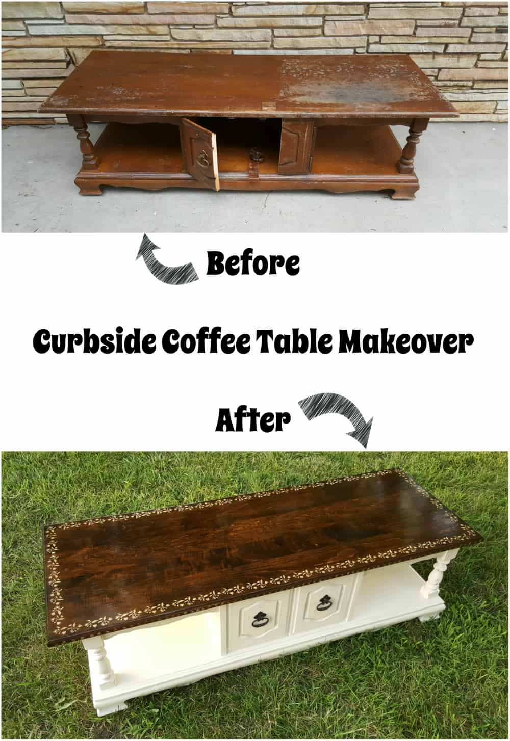 coffee table rescued from the curb repurposing junkie